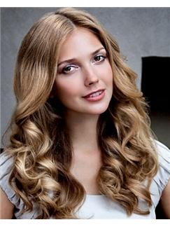 100% Human Hair Blonde Medium Cute Wigs 16 Inch