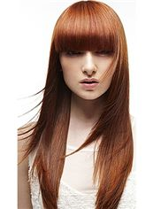 Concise Long Straight Red Human Hair Wigs 20 Inch