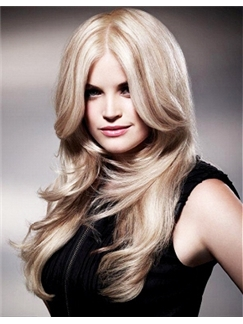 Mysterious Full Lace Long Wavy Blonde Remy Hair Wig