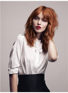 Red Fancy Capless Medium Wavy Remy Hair Wig