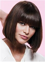 Top-rated Short Straight Sepia Remy Hair Wigs 12 Inch
