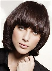 Up-to-date Short Wavy Sepia Human Hair Wigs 12 Inch