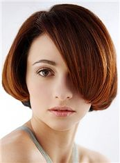 Top Quality Capless Short Straight Red Remy Hair Wig