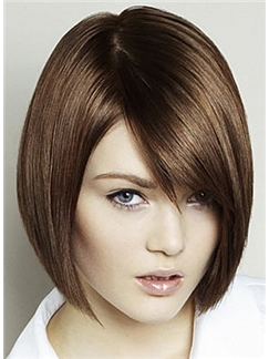 Straight Brown Gorgeous Full Lace Short Remy Hair Wig