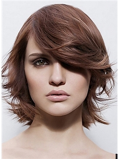 Pretty Capless Short Wavy Brown Remy Hair Wig
