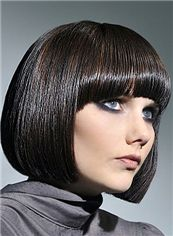 Attractive Short Straight Black Remy Hair Wigs 12 Inch
