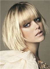 Sparkle Short Straight Blonde Real Hair Wigs