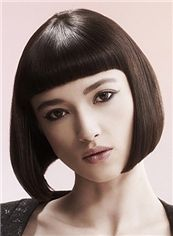 Classic Short Straight Black Human Hair Wigs 12 Inch