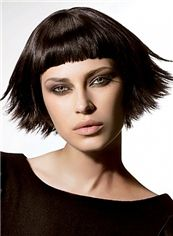 Dream Short Straight Black Remy Human Hair Wigs 12 Inch