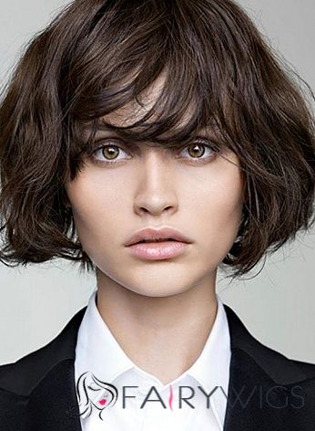 Sexy Capless Short Wavy Black Indian Remy Hair Wig