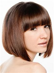 Elegant Short Straight Brown Remy Human Hair Wigs 12 Inch