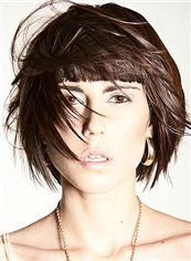Ingenious Short Straight Brown Remy Human Hair Wigs 12 Inch