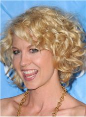 Soft Lace Front Short Blonde Wavy Top Quality High Heated Fiber Hair Wig