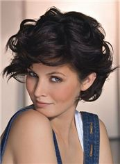 Popurlar Full Lace Short Wavy Brown Indian Remy Hair Wig