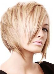 Pretty Capless Short Straight Blonde Indian Remy Hair Wig