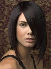 Shining Full Lace Short Straight Black Top Human Hair Wig