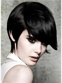 Classic Full Lace Short Straight Black Indian Remy Hair Wig