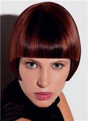 Dream Short Straight Red Human Hair Wigs 8 Inch