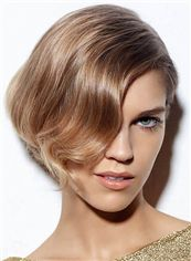 Natural Full Lace Short Wavy Blonde Indian Remy Hair Wig
