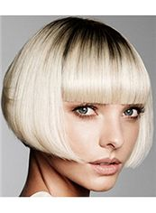 100% Human Hair Blonde Short Wigs Capless Special Cool Wigs