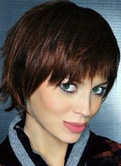 Pretty Lace Front Short Straight Brown Top Quality High Heated Fiber Hair Wig