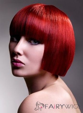 Grand Lace Front Short Straight Red Top Quality High Heated Fiber Hair Wig