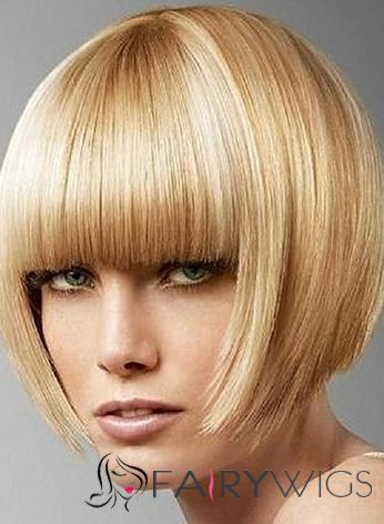 Glamorous Lace Front Short Straight Blonde Top Quality High Heated Fiber Hair Wig