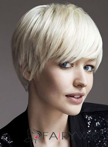 Lace Front Short Straight Concise Blonde Top Quality High Heated Fiber Hair Wig