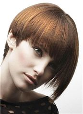 Cute Short Straight Blonde Remy Human Hair Wigs 8 Inch