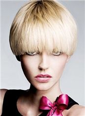 Multi-function Short Straight Blonde Remy Human Hair Wigs 8 Inch