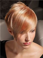 Full Lace Short Blonde Straight Indian Remy Hair Wig
