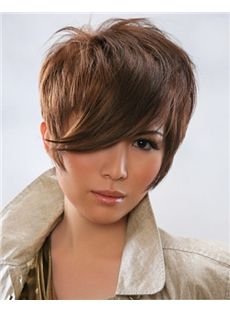 Full Lace Short Straight Brown Indian Remy Hair Wig