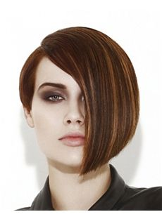 Gorgeous Full Lace Short Straight Brown Indian Remy Hair Wig