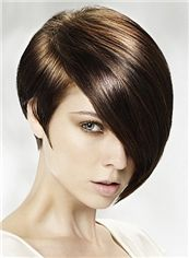 Cheap Full Lace Short Straight Brown Indian Remy Hair Wig