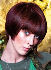 Concise Short Straight Brown Remy Human Hair Wigs 8 Inch