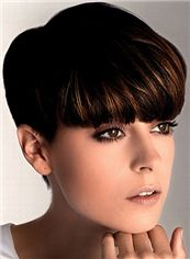 Modern Short Straight Brown Indian Remy Hair Wigs 6 Inch