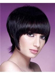 Top-rated Short Straight Black Real Human Hair Wigs 10 Inch