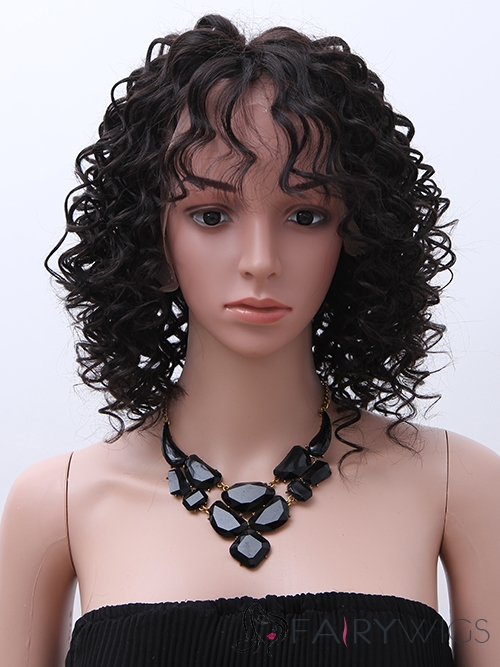 100% Human Hair Brown Medium Curly Full Lace 14 Inch Wigs