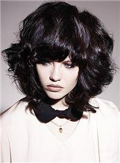 Fashionable Short Wavy Black Remy Hair Wigs 12 Inch