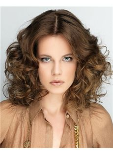 Fancy Full Lace Medium Wavy Brown Indian Remy Hair Wig