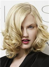 Modern Full Lace Medium Wavy Blonde Indian Remy Hair Wig