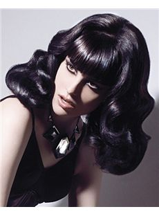 Wonderful Medium Wavy Black Remy Hair Wigs 14 Inch