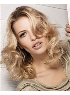 100% Human Hair Blonde Medium Wavy Full Lace 16 Inch Wigs