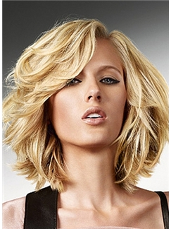 Sexy Lace Front Short Wavy Blonde Indian Remy Hair Wig