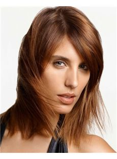 Ingenious Full Lace Medium Straight Brown Indian Remy Hair Wig