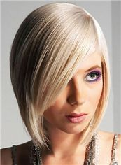 Dainty Full Lace Short Straight Blonde Indian Remy Hair Wig
