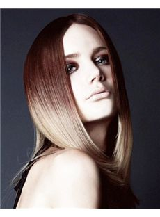 Custom Full Lace Medium Straight Brown Top Human Hair Wig