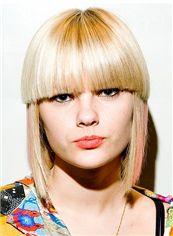 Custom Super Charming Short Straight Blonde Remy Human Hair Wigs 12