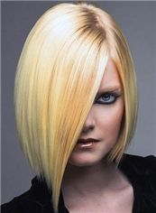 Medium Trendy Full Lace Straight Blonde Indian Remy Hair Wig