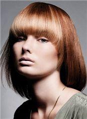 Cheap Medium Straight Blonde Indian Human Hair Wigs 14 Inch